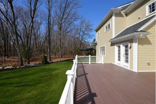Large composite deck on house