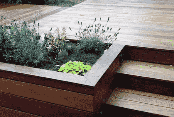 Garden Ideas With Composite Decking and Planters
